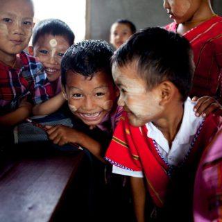 Pupils laughing in Myanmar