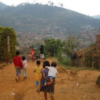 Children walking in refugee camps Thailand