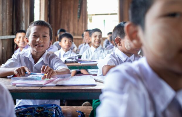Myanmar boy at school