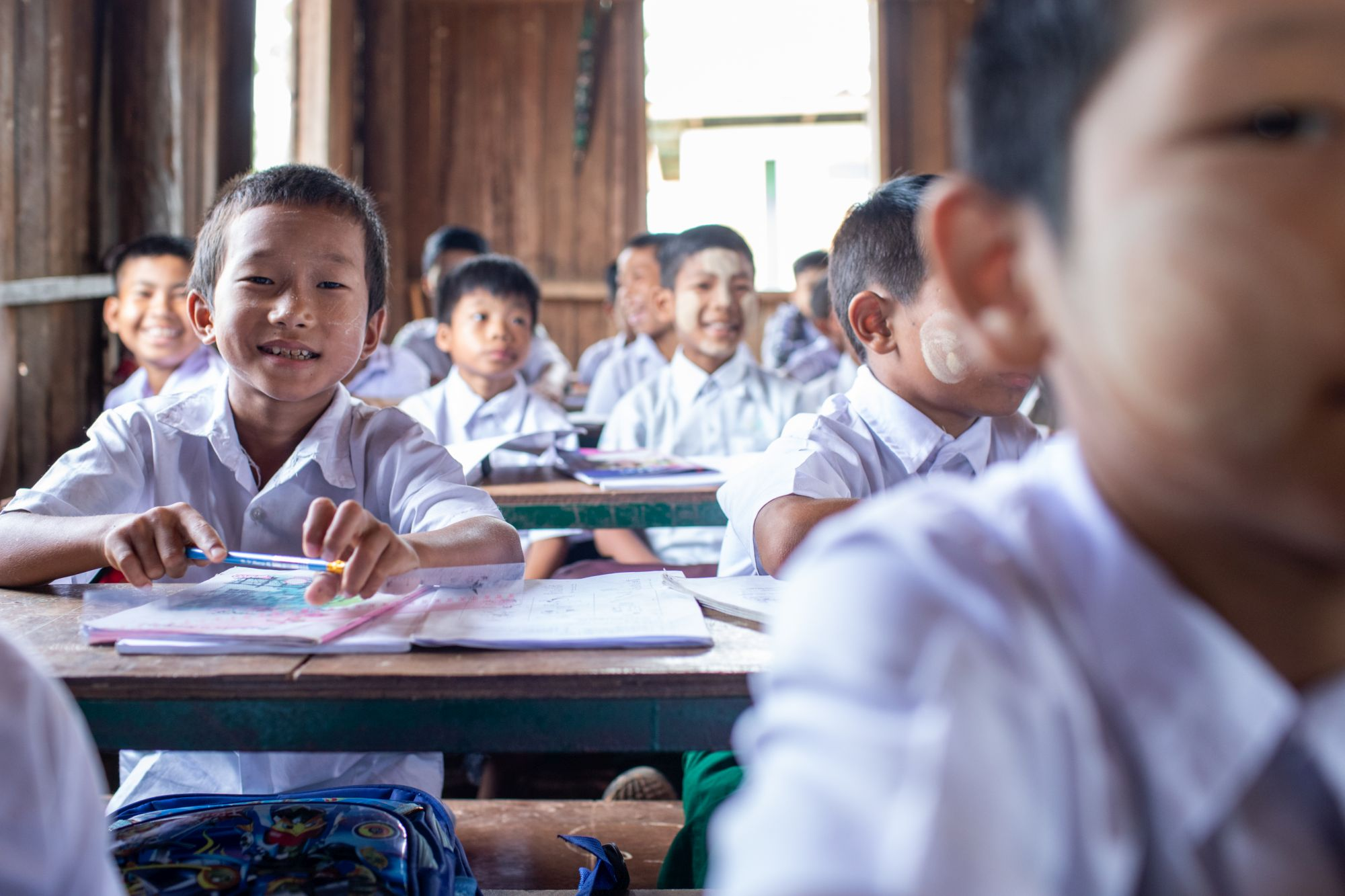 Myanmar boy at school