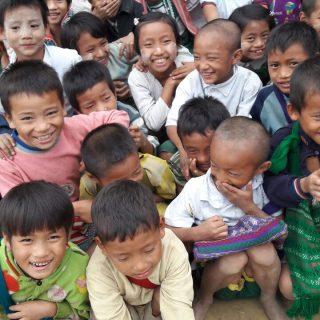 Chin Hill Myanmar group of smiling children