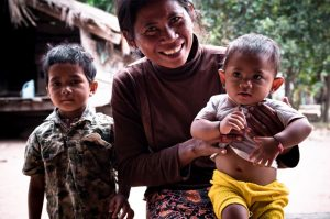 mother and her two boys in Cambodia