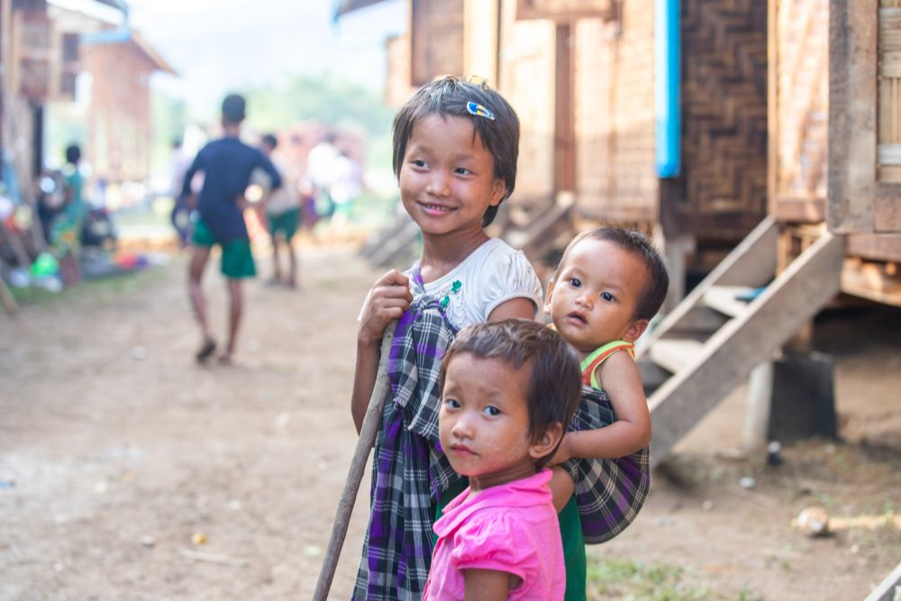 Young kids in the street in Myanmar