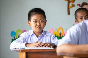 Laos, Deaf children weave their way to a better future in Luang Prabang,Som at school in Luang Prabang
