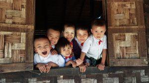 Young school pupils in Myanmar