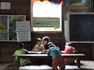 Children studying in Myanmar