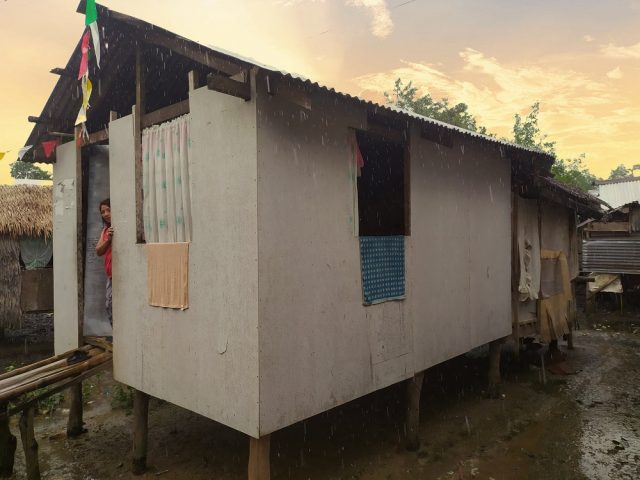 Reconstruction of a house by Children of the Mekong after the typhoon Kammuri.
