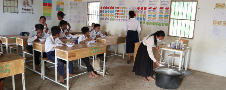 A class in Cambodia during lunch hour