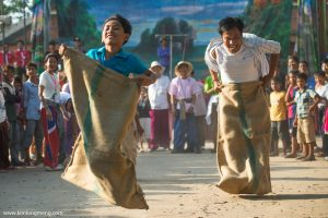 The traditional sack race of the Khmer new year