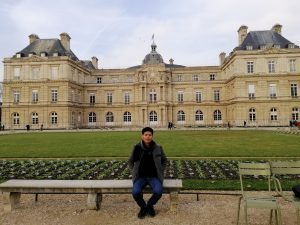 Borann, in front of the Luxembourg parc in Paris, France