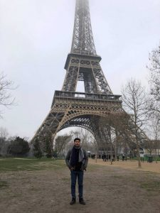 Borann in front of the Eiffel Tower