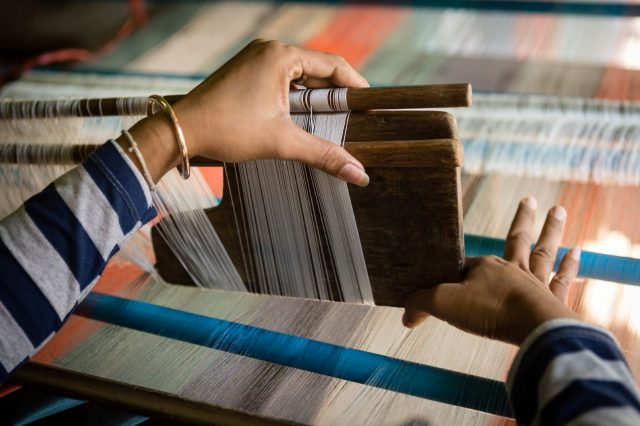 A loom for silk weaving in Cambodia