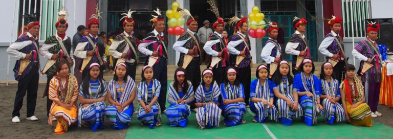 students in traditional outfit in the Chin Hills