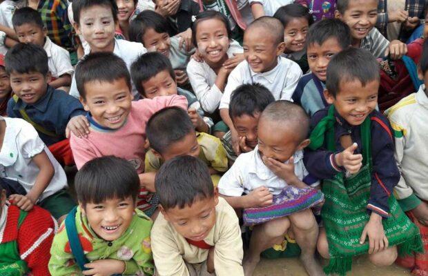 Chin state children, smiling, laughing, happy, Myanmar, ethnic minority