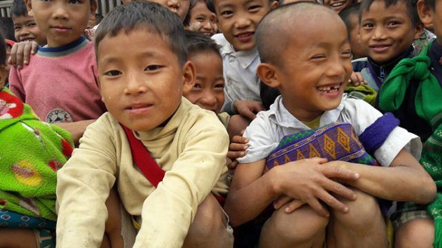 Group of children from the Chin Hills, Myanmar, Burma, Smiling, happy