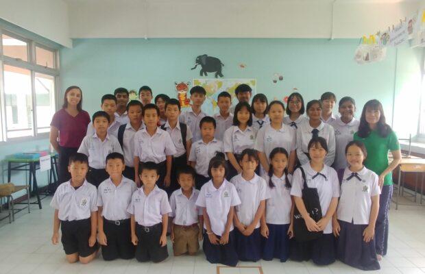 group of Thai students, classroom, uniform, education